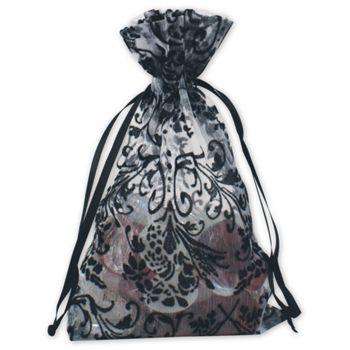 White Damask Organza Bags, 4 x 6