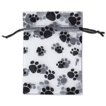 Paw Print Sheer Bags, 4 x 6