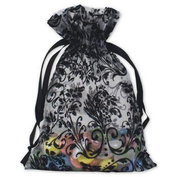 White Damask Organza Bags, 5 x 7
