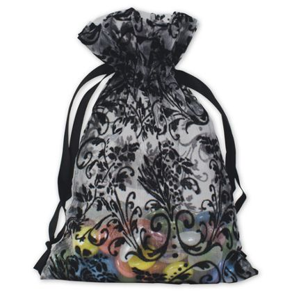 """White Damask Organza Bags, 5 x 7"""""""