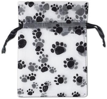 Paw Print Sheer Bags, 5 x 7