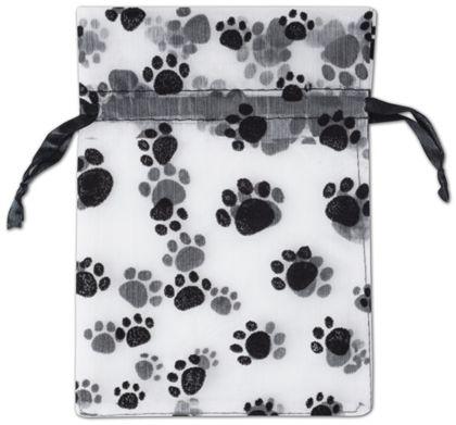"Paw Print Sheer Bags, 5 x 7"""