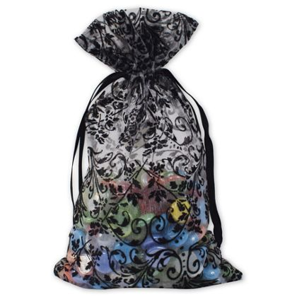 """White Damask Organza Bags, 6 x 10"""""""