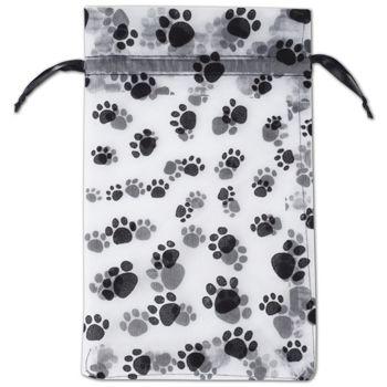 "Paw Print Sheer Bags, 6 x 10"""