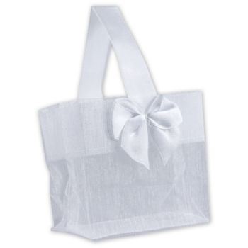 White Satin Bow Mini Totes, 3 1/4 x 2 x 3 1/4