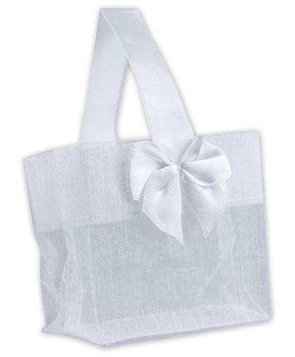 White Satin Bow Mini Totes, 3 1/4 x 2 x 3 1/4""