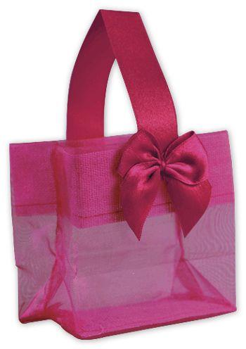 Pink Satin Bow Mini Totes, 3 1/4 x 2 x 3 1/4