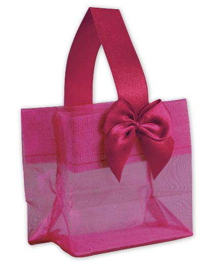 Pink Satin Bow Mini Totes, 3 1/4 x 2 x 3 1/4""