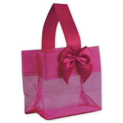 Pink Satin Bow Mini Totes, 3 1/4 x 2 x 3 1/4