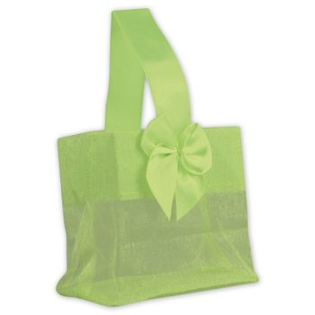 Green Satin Bow Mini Totes, 3 1/4 x 2 x 3 1/4