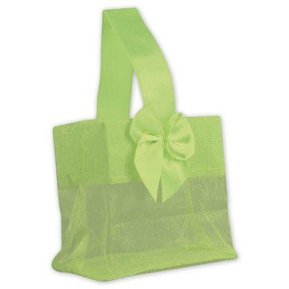Green Satin Bow Mini Totes, 3 1/4 x 2 x 3 1/4