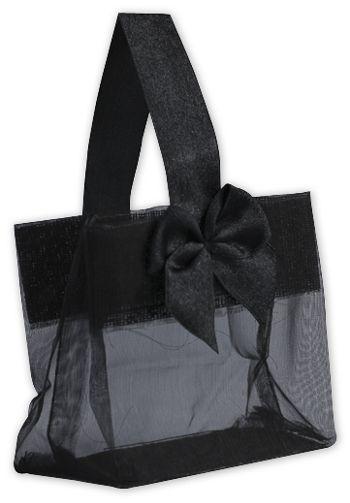 Black Satin Bow Mini Totes, 3 1/4 x 2 x 3 1/4
