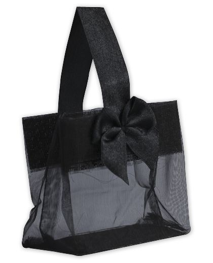 Black Satin Bow Mini Totes, 3 1/4 x 2 x 3 1/4""