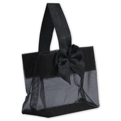 Black Satin Bow Mini Totes, 3 1/4 x 2 x 3 1/4