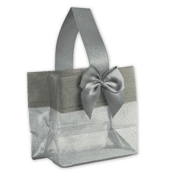 Silver Satin Bow Mini Totes, 3 1/4 x 2 x 3 1/4