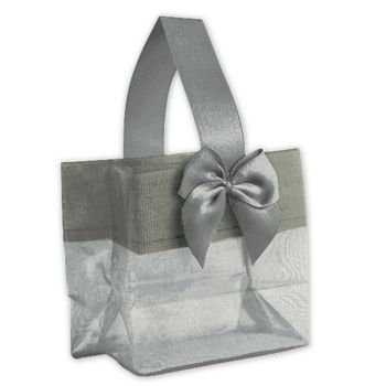 Silver Satin Bow Mini Totes, 3 1/4 x 2 x 3 1/4