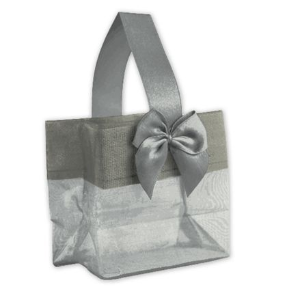 Silver Satin Bow Mini Totes, 3 1/4 x 2 x 3 1/4""