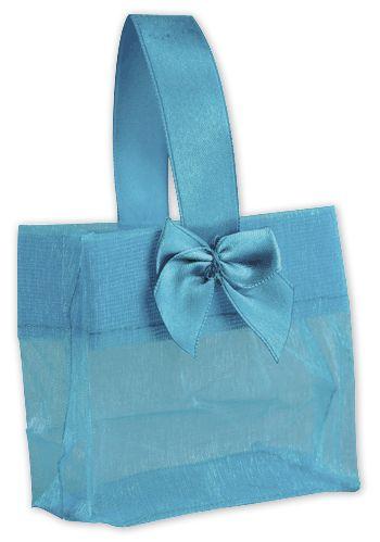 Blue Satin Bow Mini Totes, 3 1/4 x 2 x 3 1/4