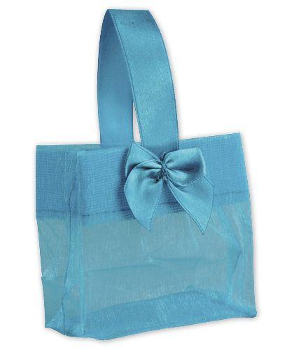 """Blue Satin Bow Mini Totes, 3 1/4 x 2 x 3 1/4"""""""