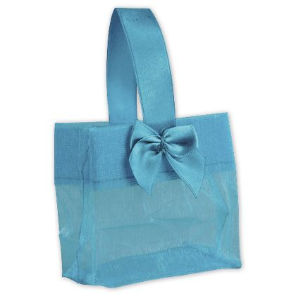 Blue Satin Bow Mini Totes, 3 1/4 x 2 x 3 1/4""