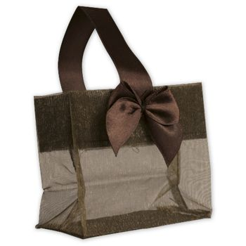 Chocolate Satin Bow Mini Totes, 3 1/4 x 2 x 3 1/4