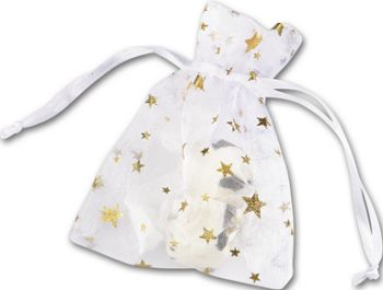 Gold Stars on White Organza Bags, 3 x 4