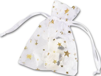 Gold Stars on White Organza Bags, 3 x 4""