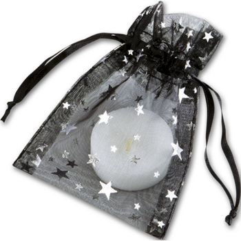 Gold Stars on Black Organza Bags, 3 x 4""