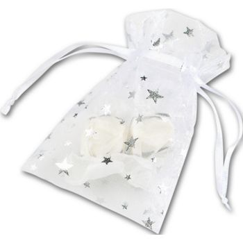 Silver Stars on White Organza Bags, 3 x 4