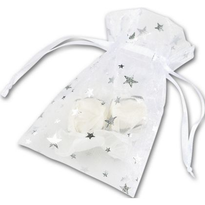 Silver Stars on White Organza Bags, 3 x 4""