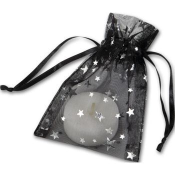 Silver Stars on Black Organza Bags, 3 x 4""