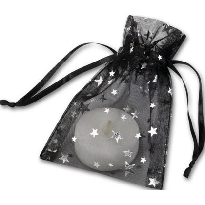 Silver Stars on Black Organza Bags, 3 x 4