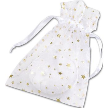 Gold Stars on White Organza Bags, 5 x 7""