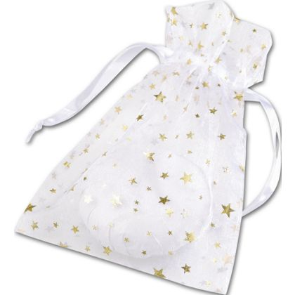 Gold Stars on White Organza Bags, 5 x 7