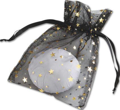 "Gold Stars on Black Organza Bags, 5 x 7"""
