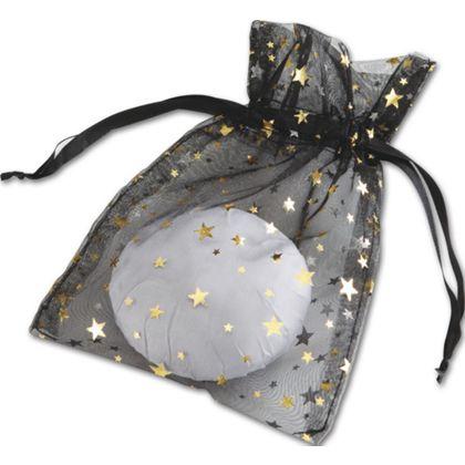Gold Stars on Black Organza Bags, 5 x 7