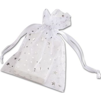 Silver Stars on White Organza Bags, 5 x 7""