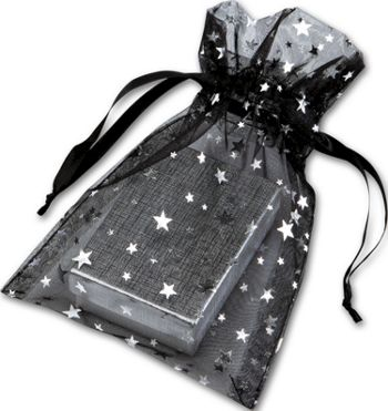 Silver Stars on Black Organza Bags, 5 x 7