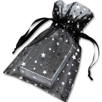 Silver Stars on Black Organza Bags, 5 x 7""