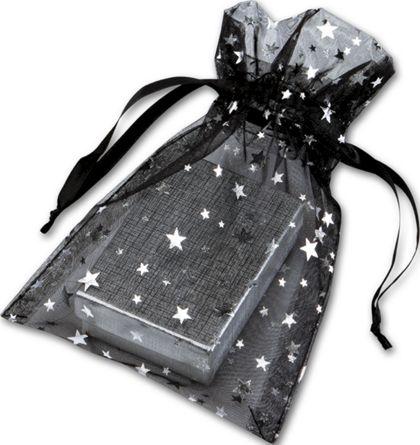 "Silver Stars on Black Organza Bags, 5 x 7"""