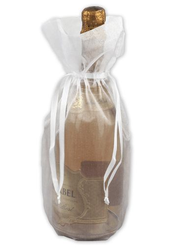 White Sheer Organza Wine Bags, 6 1/2 x 15
