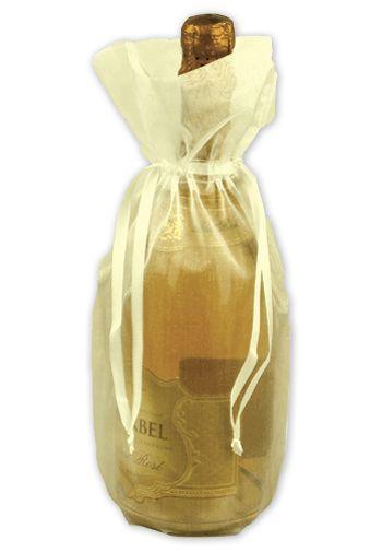 Ivory Sheer Organza Wine Bags, 6 1/2 x 15