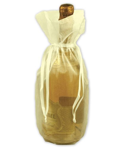 "Ivory Sheer Organza Wine Bags, 6 1/2 x 15"""