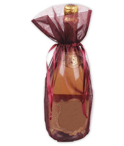 """Burgundy Sheer Organza Wine Bags, 6 1/2 x 15"""""""