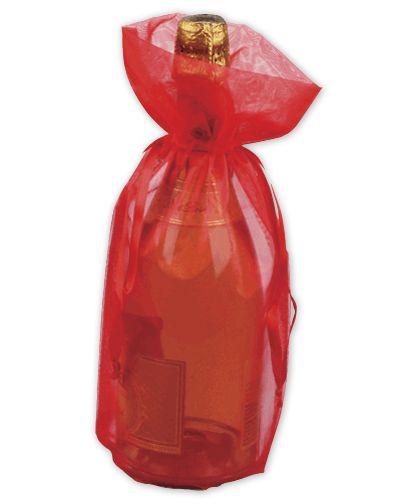 "Red Sheer Organza Wine Bags, 6 1/2 x 15"""