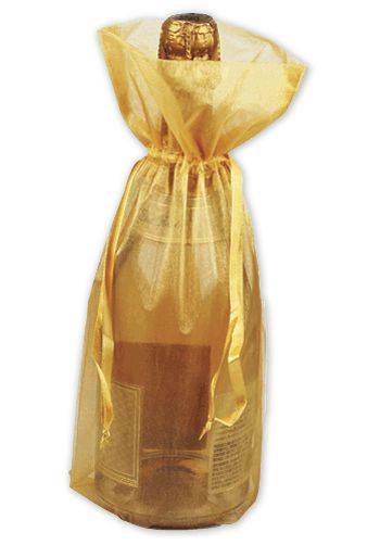 Gold Sheer Organza Wine Bags, 6 1/2 x 15