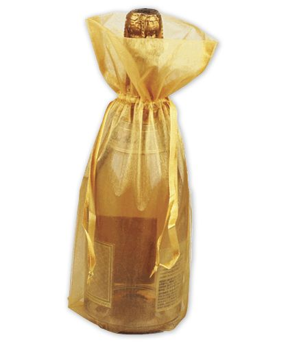 Gold Sheer Organza Wine Bags, 6 1/2 x 15""
