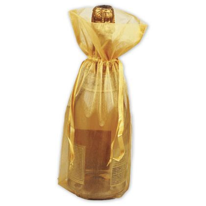 Gold Sheer Organza Wine Bags 6 1 2 X 15