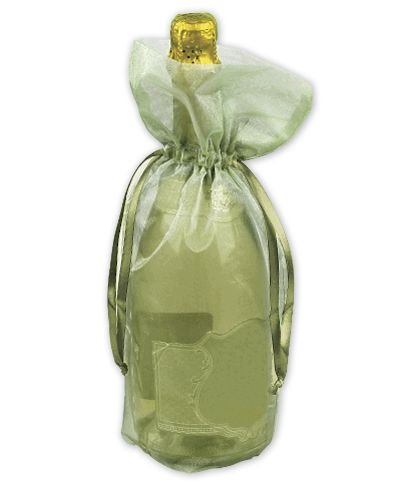 Moss Green Sheer Organza Wine Bags, 6 1/2 x 15""