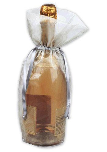 Silver Sheer Organza Wine Bags, 6 1/2 x 15